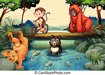 Animals by the river