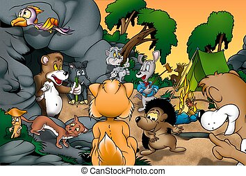 Animals Camping - Cartoon Background Illustration, Bitmap