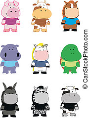 animals cartoon set 001