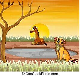 Animals cartoon sitting under the dry tree