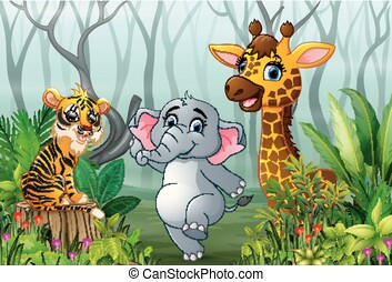 Animals cartoon with a view of the forest in the fog