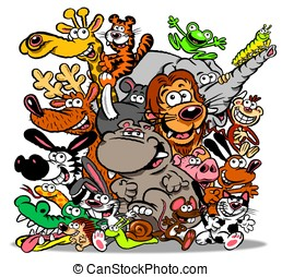 Animals cartoon.WBG. - Cartoon of lots of different animals....