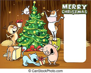 animals celebrate Christmas - vecto