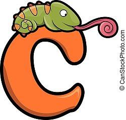 animals chameleon and letter c