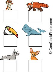 animals characters with cards design set