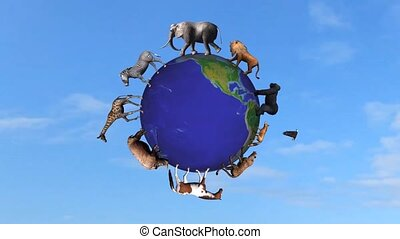 animals circle the world globe in front on blue sky