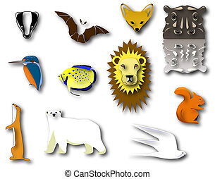 Animals - Selection of animal designs and pictograms with...