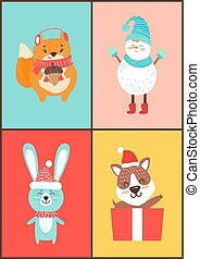 Animals Collection of Cards on Vector Illustration