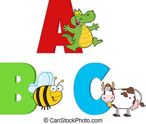 animals., collezione, alfabeti