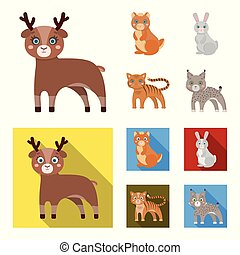 Animals, domestic, wild and other web icon in cartoon,flat