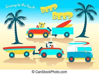 Animals driving to the beach beep beep