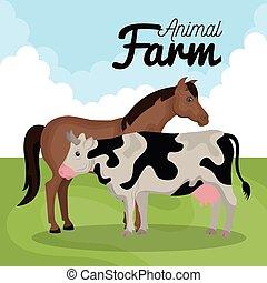 animals farm in the field