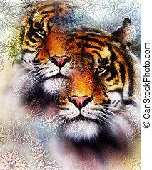 animals., fauna, bruine , collage, abstract, ornamet, color., tiger, sinaasappel, zwarte achtergrond, witte , mandala, kleur