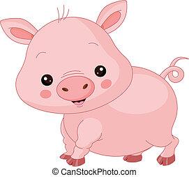 animals., ferme, cochon