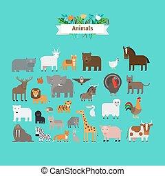Animals flat design vector icons