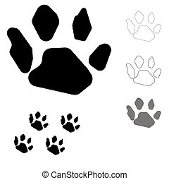 Animals footprint on the white background.