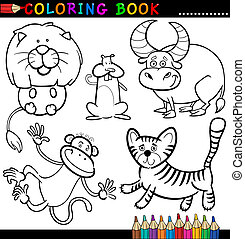 Coloring Book or Page Cartoon Illustration of Funny Wild and Safari Animals for Children