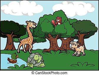 animals forest landscape