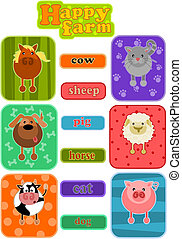 Animals from happy farm - simple cartoon icons.