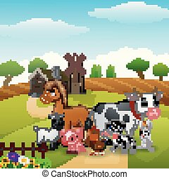 Animals group at the path of farm