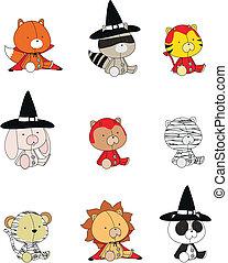 animals halloween cartoon set