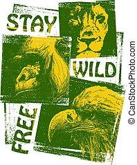 Animals. Hand drawn collage. Vector