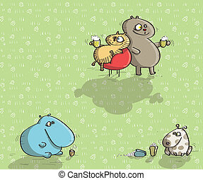 Animals Having Fun No.9 on green background. Illustration is...