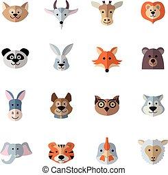Animals Heads Flat - Animals characters flat set with donkey...