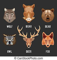 Animals heads flat icons set