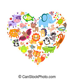 Animals Heart - I love animals concept, Heart, Vector ...