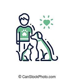 Animals Help - modern vector line design single icon.