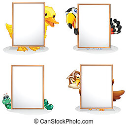 Animals hiding at the back of the whiteboards - Illustration...