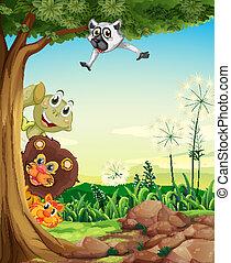 Animals hiding - Illustration of the animals hiding