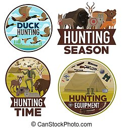 Animals hunting open season, hunter equipment