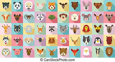 Animals icon set, flat style