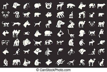 Animals icon set grey vector