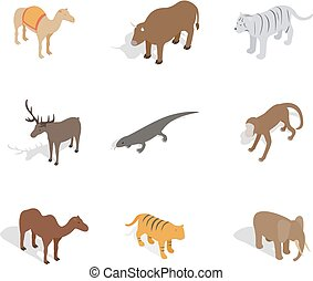Animals icon set, isometric style