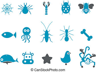 Animals Icon Set - Vector icons pack - Blue Series, animals ...