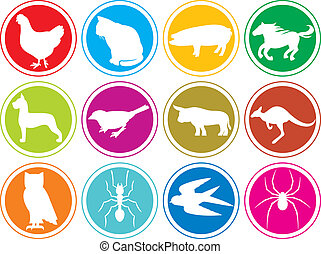 animals icons buttons