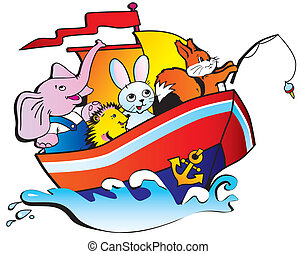 Animals in a boat. - The elephant, the hedgehog, hare and...