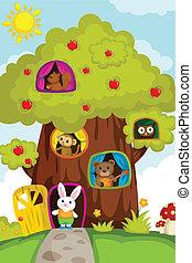 A vector illustration of a different animals living in a treehouse