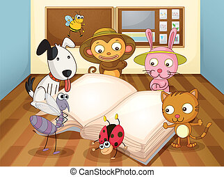 animals in classroom - illustration of a animals reading...