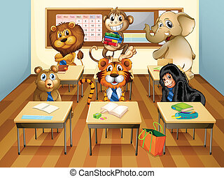 Animals in classroom - Illustration of many animals in a...