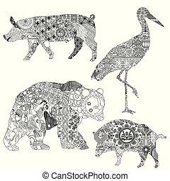 Animals in ethnic patterns.