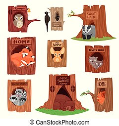 Animals in hollow vector animalistic character in tree hollowed hole illustration set of birds owl or bird on treetops and squirrel bear or fox in hollowtree isolated on white background