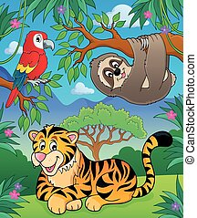 Animals in jungle topic image 2 - eps10 vector illustration.