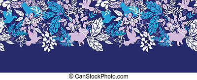 Animals in the forest silhouettes horizontal seamless pattern background border
