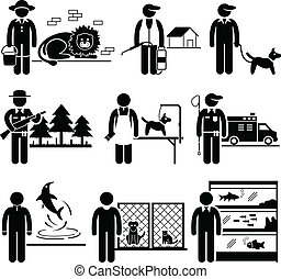 Animals Jobs Occupations Careers - A set of human pictograms...