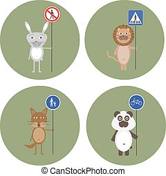 Animals kept signs of traffic rules
