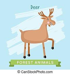 animals., las, wektor, jeleń